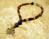 Fancy Jasper Anglican Rosary Bracelet, Prayer Beads