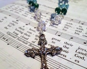 Green and Blue Glass Crystal Anglican Rosary