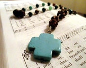 Turquoise and Brown Stone and Wood Anglican Rosary