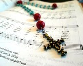 Coral and Turquoise Anglican Rosary, Episcopal Prayer Beads