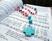 Pink Shell, Jasper and Turquoise Anglican - Episcopal Chain  Rosary - Prayer Beads - Pink and Blue Stone Beaded