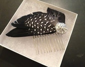 Black and White Feather Fascinator Comb with Vintage Style Rhinestone Silver Tone Button