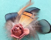 Beautiful Fancy Feather Fascinator Flower Clip with Hues of Pink Green Orange Brown Black Blue - Hippie Boho Bohemian Natural Earthy