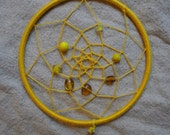 Yellow and Wire Wrapped Stone Dream Catcher
