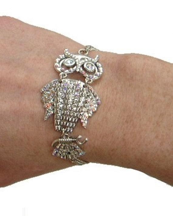 Swarovski Crystal Sideways Owl Chain Bracelet
