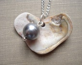 Heart Shaped Oyster Shell Necklace with Charcoal Gray Pearl - Natual Chesapeake Bay Oyster