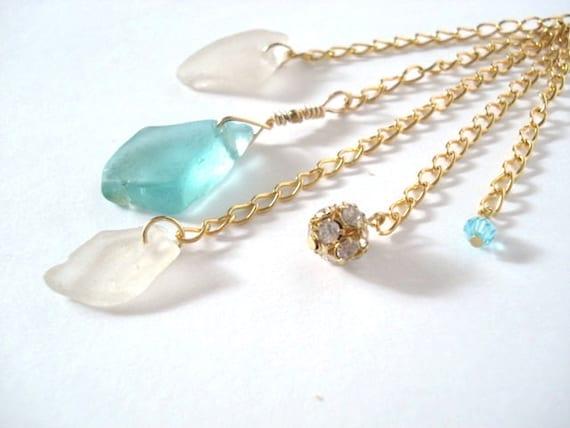 Sea Glass Dangle Necklace - Turquoise Genuine Sea Glass Jewelry - Cascading Pendant