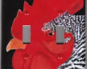 Rooster Double Light switch cover Country kitchen Painting Folk Art