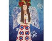 Primitive Angel Painting Folk Art Christmas Quilt Large