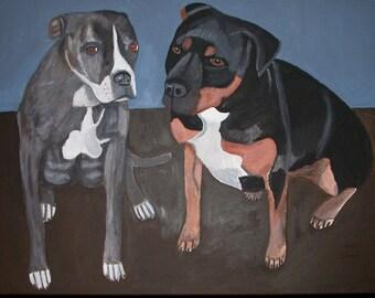 Pet Portrait Commission Painting Folk Art Dog cat Canvas