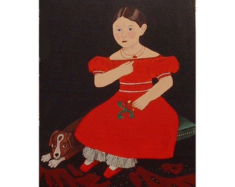 Folk Art Painting Girl red dress Beagle Canvas Primitive Portrait