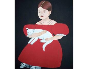 Folk Art Painting Commission Girl red dress Cat Canvas Primitive Portrait