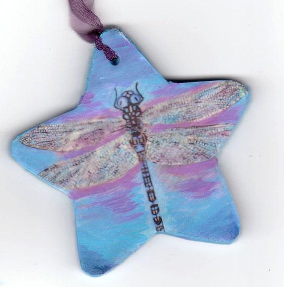 Dragonfly Christmas Ornament Purple Painting Folk Art fairy