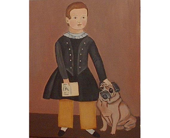 Boy Pug Painting Dog Folk Art canvas Primitive Portrait