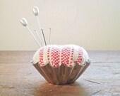 Tartlet Tin Pincushion - Rustic Red and Cream Scandinavian Stripes