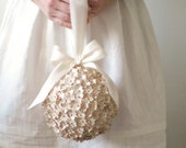 Storybook Pomander - Ivory and Pink Wedding Ball Made from Antique French Book Pages