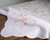 Vintage White Tablecloth - Dainty Floral Embroidery, Scalloped Edge, 32 x 32 Square