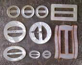 Mother of Pearl Slide Buckles - Lot of 10 Antique and Vintage Belt / Scarf Slides, Carved Ivory Shell