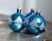 Vintage 50s Glass Ball Ornaments - Blue and White Flocked Christmas Tree Shimmer, Set of 3