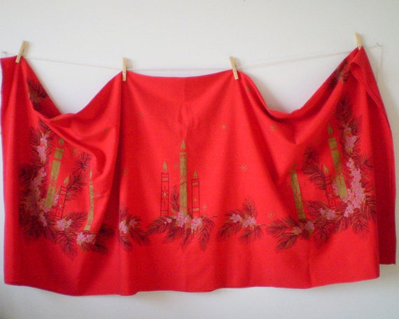 1950s Christmas Candle Tablecloth - Made by California Hand Prints, 55 x 65