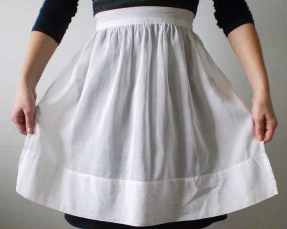 Vintage White Apron Crisp Basic Simple Half Apron Sheer