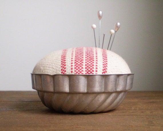Jello Mold Pincushion - Rustic Cotton Red Stripe