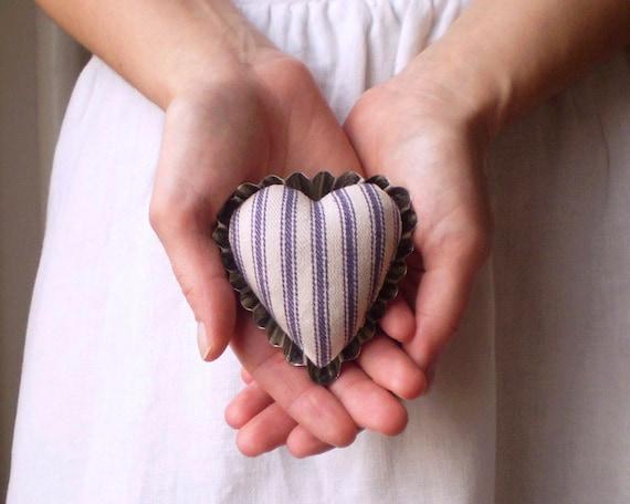 Petite Heart Pincushion - Rustic Blue Ticking and Vintage Swedish Tartlet Tin