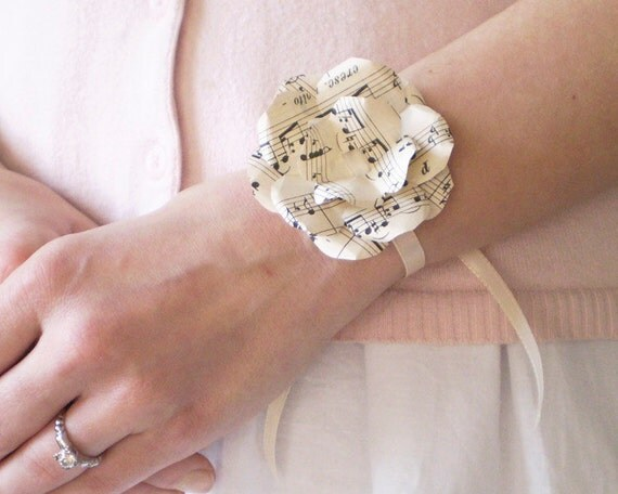 Sheet Music Wrist Corsage - Ivory Paper Flower Rosette, Ribbon Bracelet made from Vintage Songbook Pages