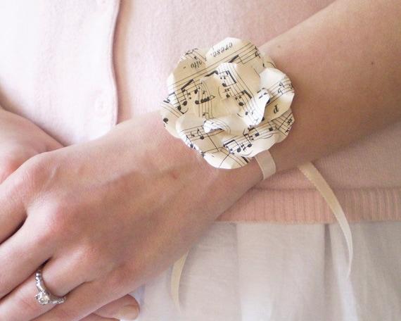 Sheet Music Wrist Corsage Ivory Paper Flower Rosette Ribbon