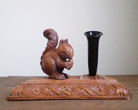 Genuine Burwood Squirrel Pen Holder - Vintage Desk Accessory