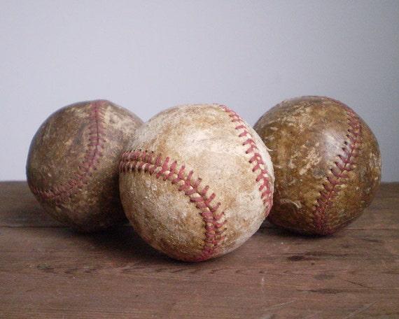 3 Rustic Baseballs - Americana