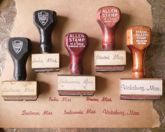 Vintage Rubber Stamps - Wooden Handles - Small Towns in Mississippi, Lot of 5