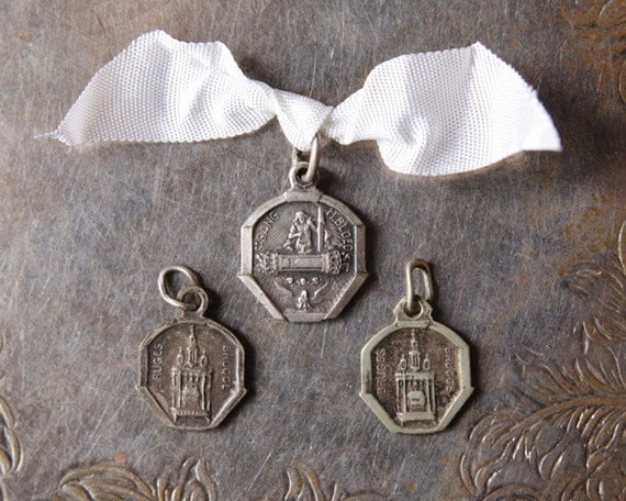 3 Antique Vintage Belgian Religious Charms / Pendants - Holy Blood Relic Medals