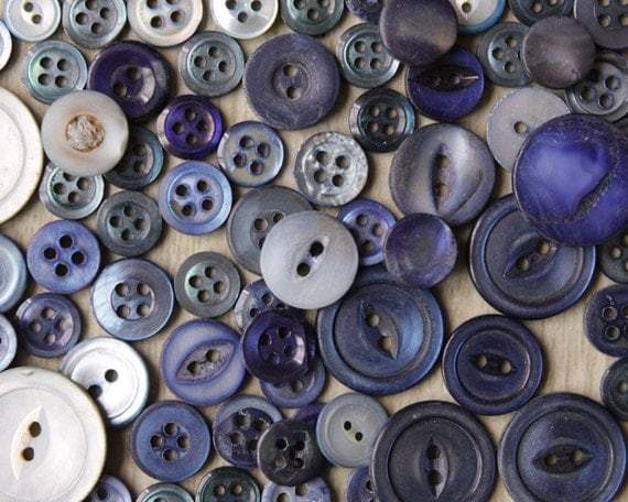 Cobalt Blue Buttons - Lot of over 50 Vintage Dyed Mother of Pearl Shell Buttons