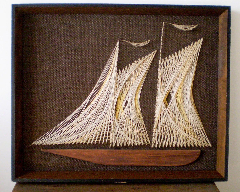 Vintage String Art Sailboat In Neutrals 16 X 20
