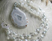 Ice Queen... Polished Quartz, Fresh Water Pearl, Frosted Glass