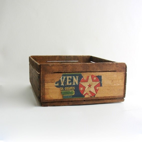 Items similar to vintage wood fruit crate on etsy for Wooden fruit crates