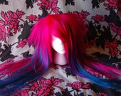 Hot Pink Teal and Purple All Over Streaked Wig Rush Order For johnboysgirl