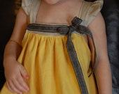 RESERVED Baby Girl Dress  in Yellow Cotton/Gray Linen  12 mo 2T 3T