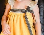 Baby Girl Dress  in Yellow Cotton/Gray Linen 12 mo/2T/3T
