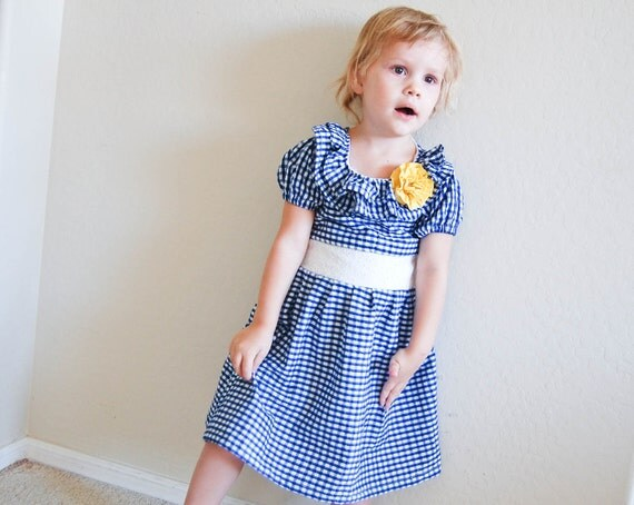 Girls Seersucker Dress in Royal Blue/White Gingham Print 12 mo-5T
