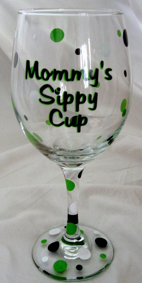 items similar to mommy 39 s sippy cup personalized wine glass on etsy. Black Bedroom Furniture Sets. Home Design Ideas