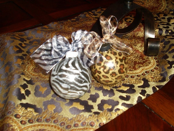 Leopard animal print christmas ornaments private by