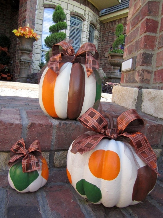 Set of 3 Thanksgiving Halloween painted brown orange green pumpkins plaid & tulle bows rustic