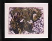 Mammoth - Framed artwork using batik wax painting style. Great home decor item. A unique gift for art lovers.