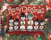 JEZ4U Christmas Snowman Family Names Hand Painted on Gallery Wrapped Canvas Looks great on the tree
