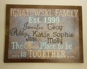 """Family Canvas 16"""" X 20"""" The Best Place to be is TOGETHER Family Names Your colors"""