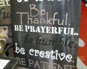 Jez4U Subway Style Vintage Art on Distressed Wood one piece Be Thankful Be creative Be Humble Ready To ship