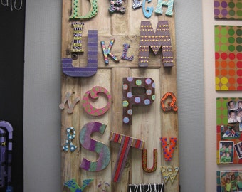 Jez4U ABC's Alphabet Letters Ready To Ship Handpainted Great for a gameroom, classroom or nursery Door NOT included