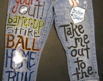 Custom JEANS for Take me out to the ballgame Sned me your jeans to paint